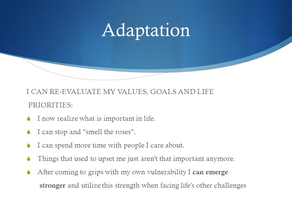 Adaptation I CAN RE-EVALUATE MY VALUES, GOALS AND LIFE PRIORITIES:  I now realize what is important in life.