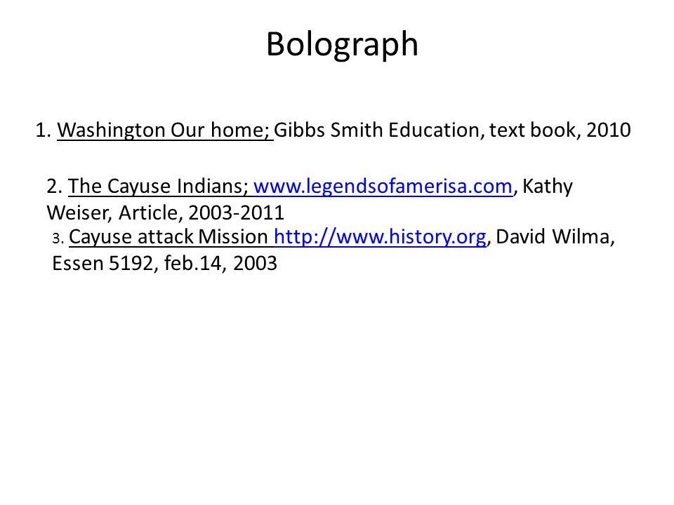 Bolograph 1. Washington Our home; Gibbs Smith Education, text book, 2010 2.