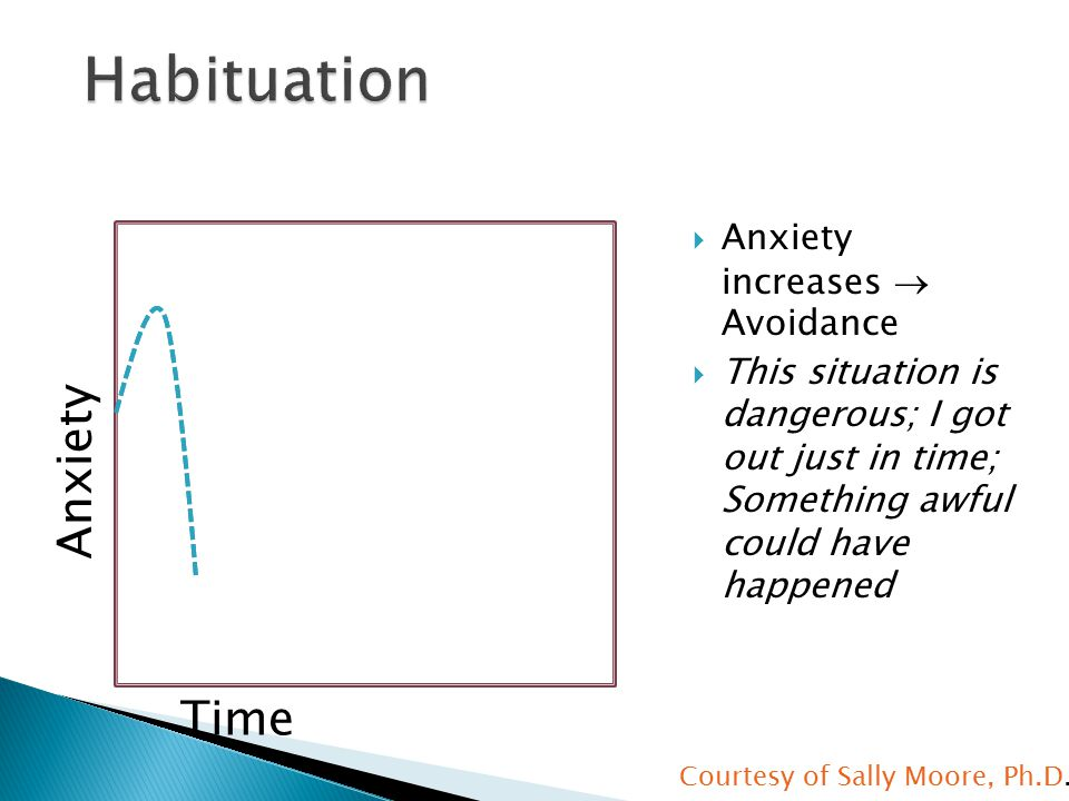  Anxiety increases  Avoidance  This situation is dangerous; I got out just in time; Something awful could have happened Anxiety Time Courtesy of Sally Moore, Ph.D.