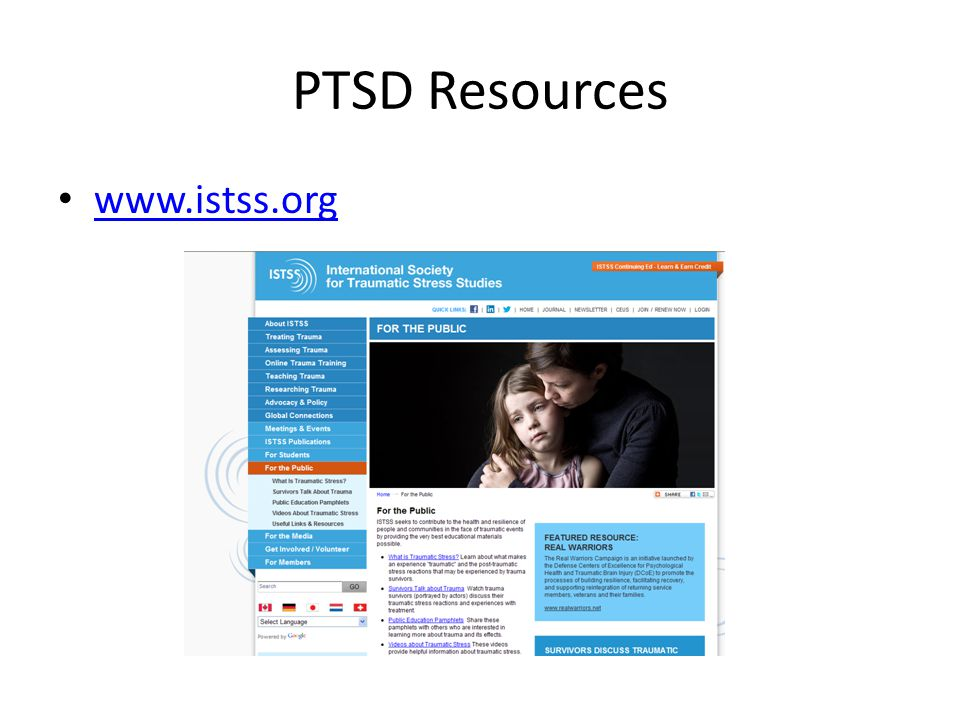 PTSD Resources www.istss.org