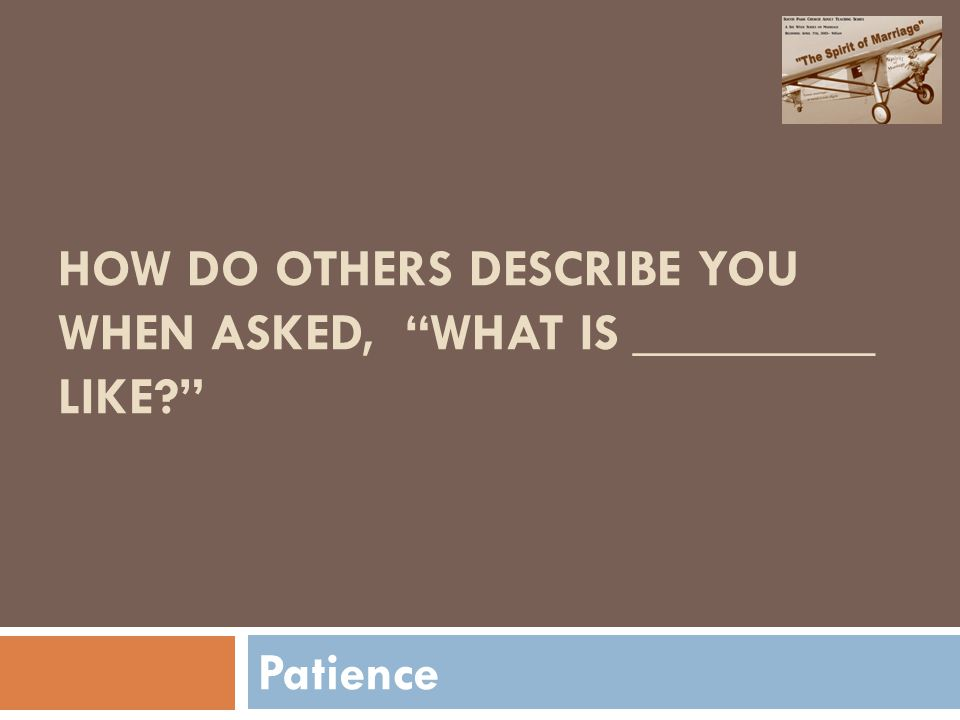 HOW DO OTHERS DESCRIBE YOU WHEN ASKED, WHAT IS _________ LIKE Patience