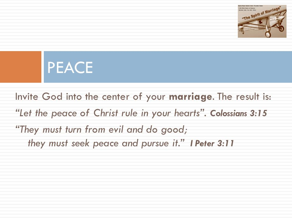 Invite God into the center of your marriage.