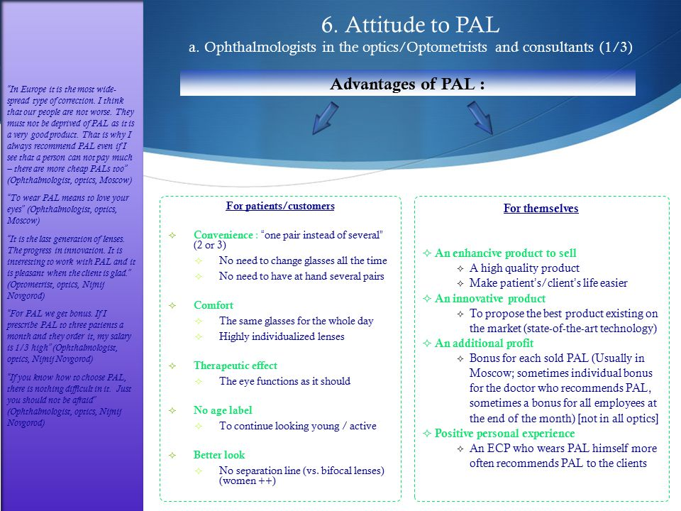 "6. Attitude to PAL a. Ophthalmologists in the optics/Optometrists and consultants (1/3) For patients/customers  Convenience : "" one pair instead of s"