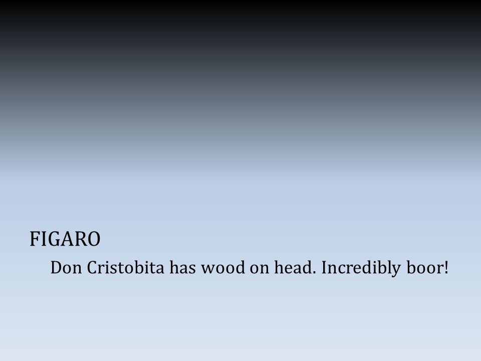 FIGARO Don Cristobita has wood on head. Incredibly boor!