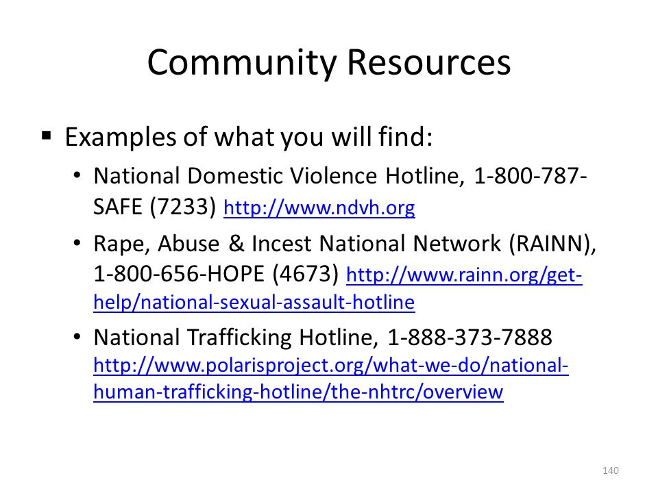 Community Resources  Examples of what you will find: National Domestic Violence Hotline, 1-800-787- SAFE (7233) http://www.ndvh.org http://www.ndvh.o