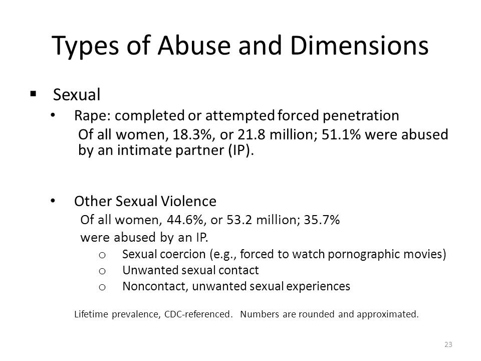 Types of Abuse and Dimensions  Sexual Rape: completed or attempted forced penetration Of all women, 18.3%, or 21.8 million; 51.1% were abused by an i
