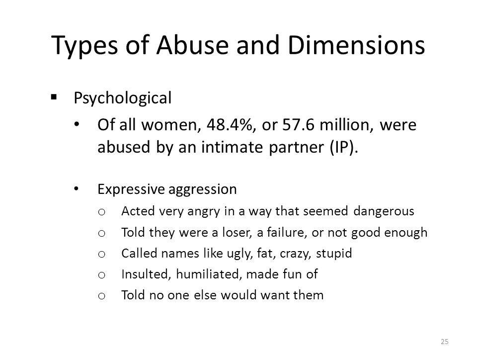 Types of Abuse and Dimensions  Psychological Of all women, 48.4%, or 57.6 million, were abused by an intimate partner (IP). Expressive aggression o A