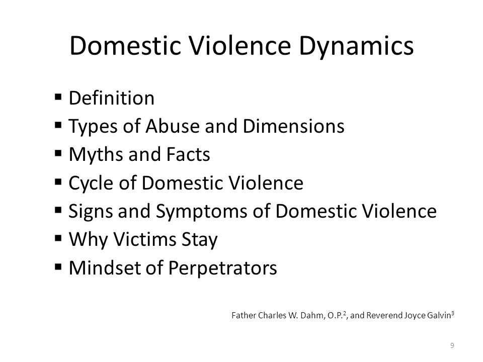 Domestic Violence Dynamics  Definition  Types of Abuse and Dimensions  Myths and Facts  Cycle of Domestic Violence  Signs and Symptoms of Domesti