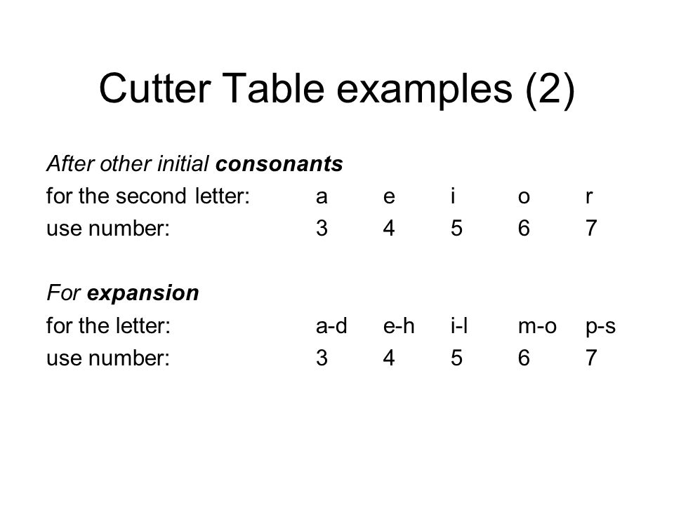 Cutter Table examples (2) After other initial consonants for the second letter:aeior use number:34567 For expansion for the letter:a-de-hi-lm-op-s use number:34567