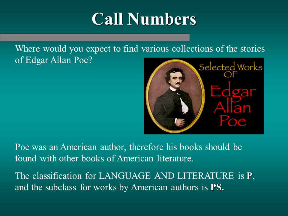 Call Numbers Where would you expect to find various collections of the stories of Edgar Allan Poe? Poe was an American author, therefore his books sho