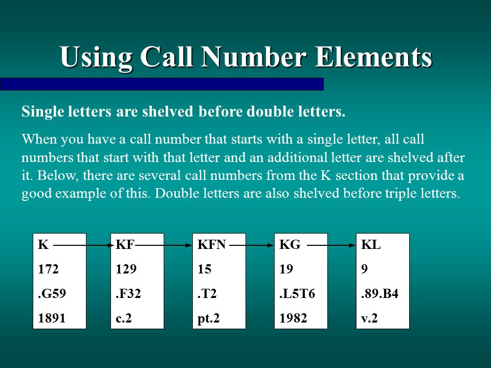 Using Call Number Elements Single letters are shelved before double letters. When you have a call number that starts with a single letter, all call nu
