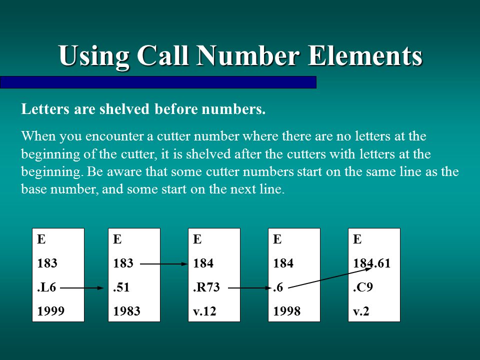 Using Call Number Elements Letters are shelved before numbers. When you encounter a cutter number where there are no letters at the beginning of the c