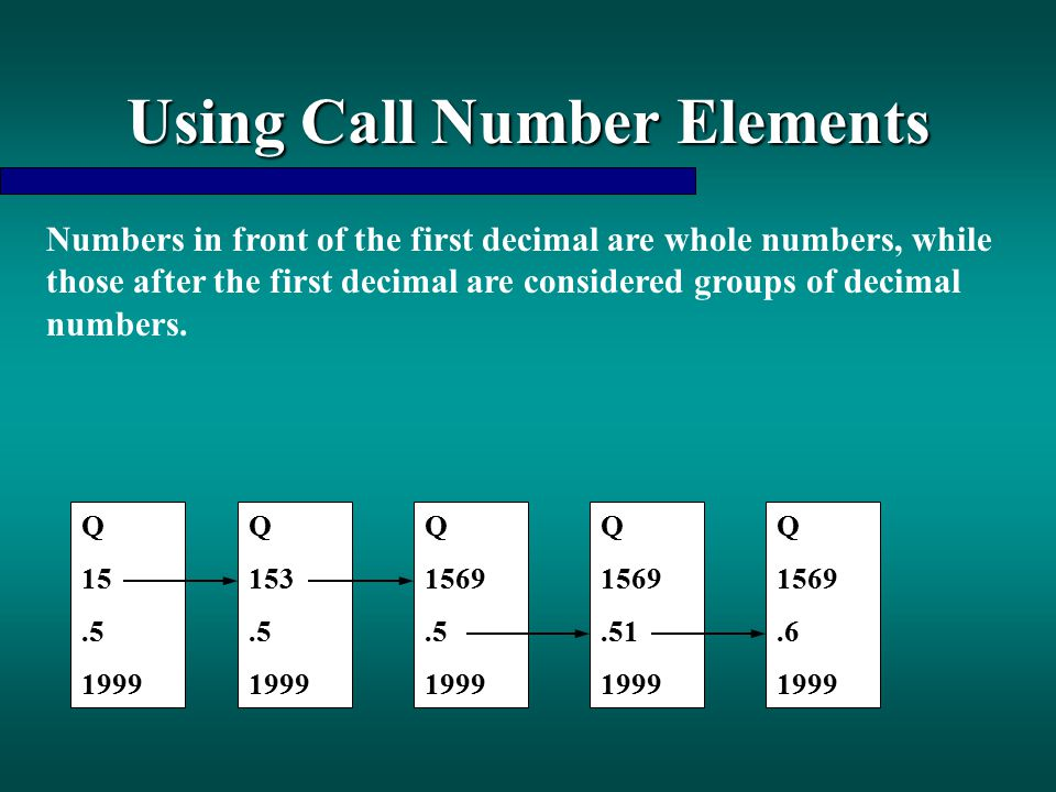Using Call Number Elements Numbers in front of the first decimal are whole numbers, while those after the first decimal are considered groups of decim