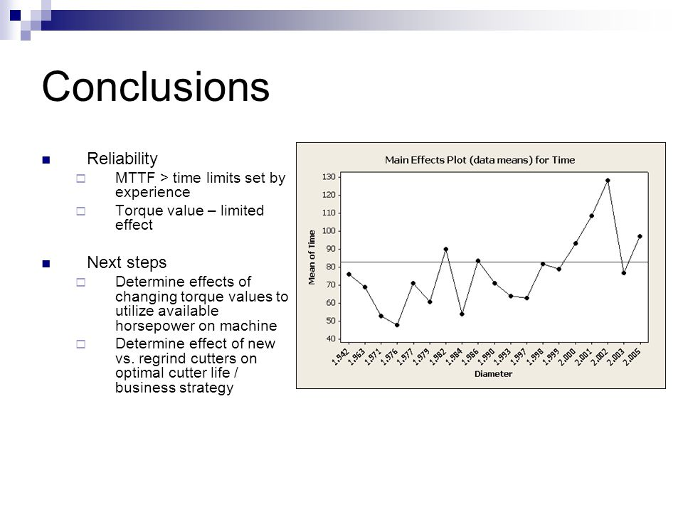Conclusions Reliability  MTTF > time limits set by experience  Torque value – limited effect Next steps  Determine effects of changing torque value