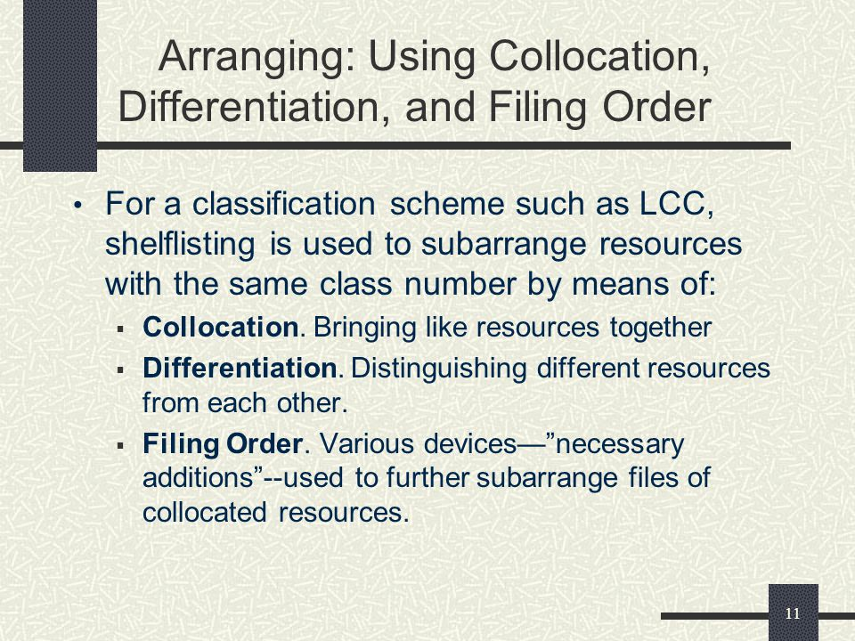 11 Arranging: Using Collocation, Differentiation, and Filing Order For a classification scheme such as LCC, shelflisting is used to subarrange resourc