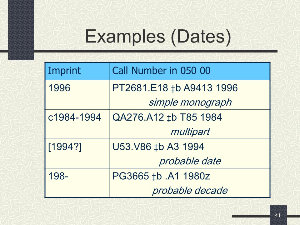 41 Examples (Dates) ImprintCall Number in 050 00 1996PT2681.E18 ‡ b A9413 1996 simple monograph c1984-1994QA276.A12 ‡ b T85 1984 multipart [1994?]U53.