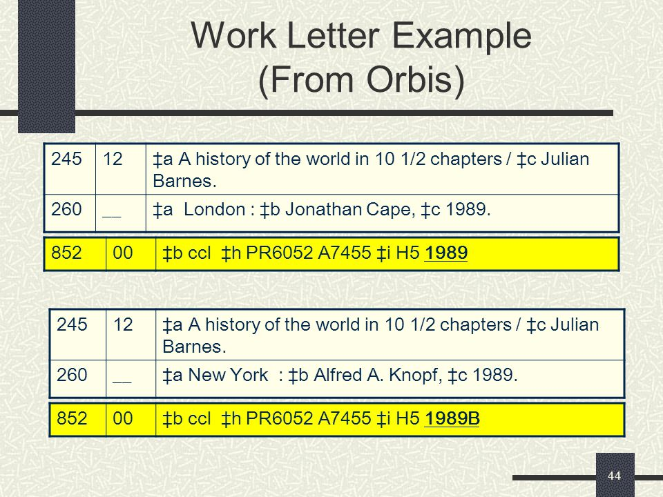 44 Work Letter Example (From Orbis) 24512‡a A history of the world in 10 1/2 chapters / ‡c Julian Barnes. 260__‡a London : ‡b Jonathan Cape, ‡c 1989.