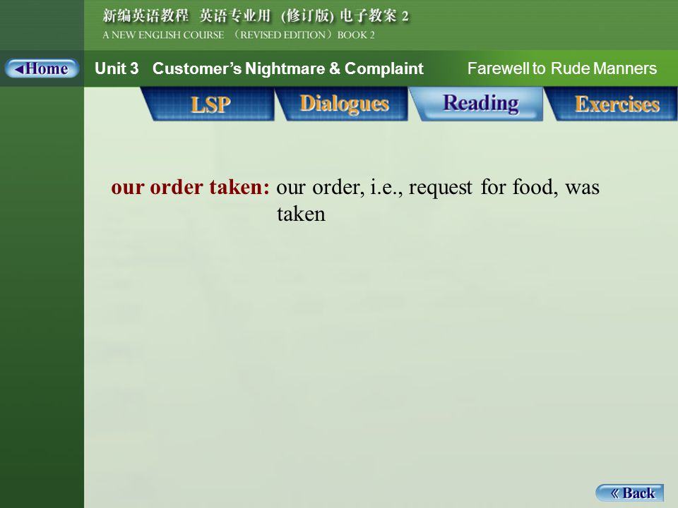 Unit 3 Customer's Nightmare & Complaint Farewell to Rude Manners Reading_Notes 1_our order taken our order taken: our order, i.e., request for food, was taken