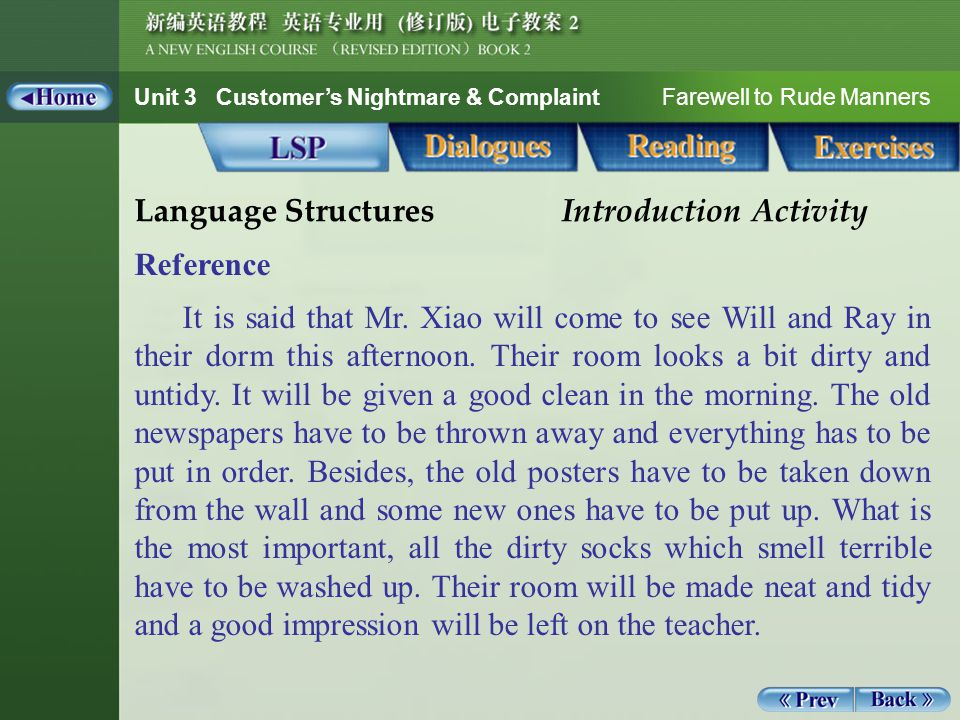 Unit 3 Customer's Nightmare & Complaint Farewell to Rude Manners Vocabulary 2_8 B.