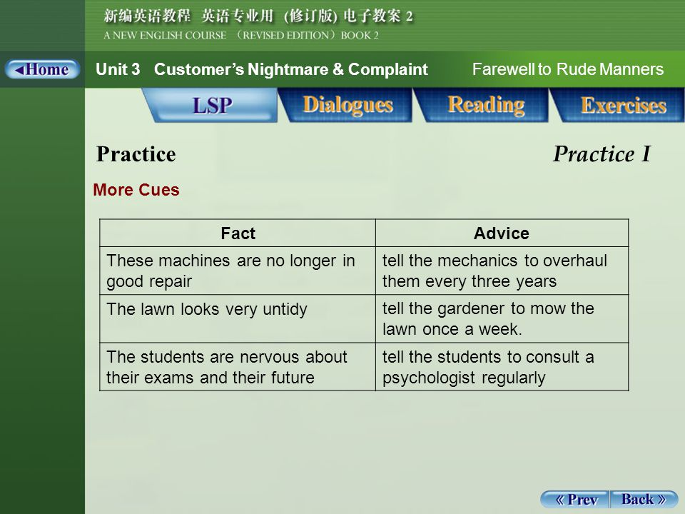 Unit 3 Customer's Nightmare & Complaint Farewell to Rude Manners Guided Writing 1_6 Exercises Guided Writing C.