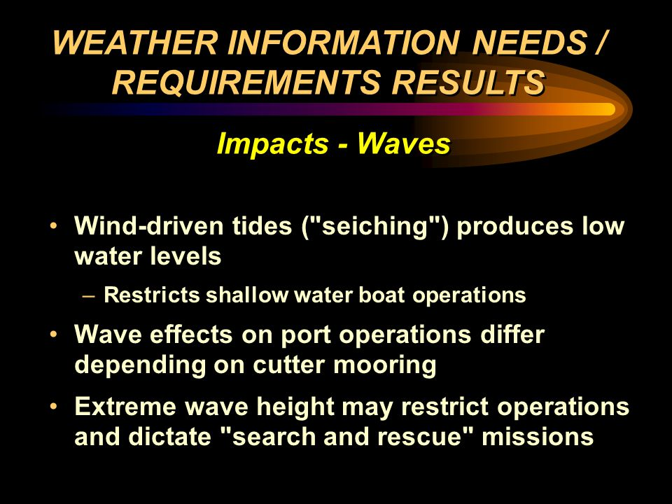Wind-driven tides ( seiching ) produces low water levels –Restricts shallow water boat operations Wave effects on port operations differ depending on cutter mooring Extreme wave height may restrict operations and dictate search and rescue missions Wind-driven tides ( seiching ) produces low water levels –Restricts shallow water boat operations Wave effects on port operations differ depending on cutter mooring Extreme wave height may restrict operations and dictate search and rescue missions WEATHER INFORMATION NEEDS / REQUIREMENTS RESULTS Impacts - Waves