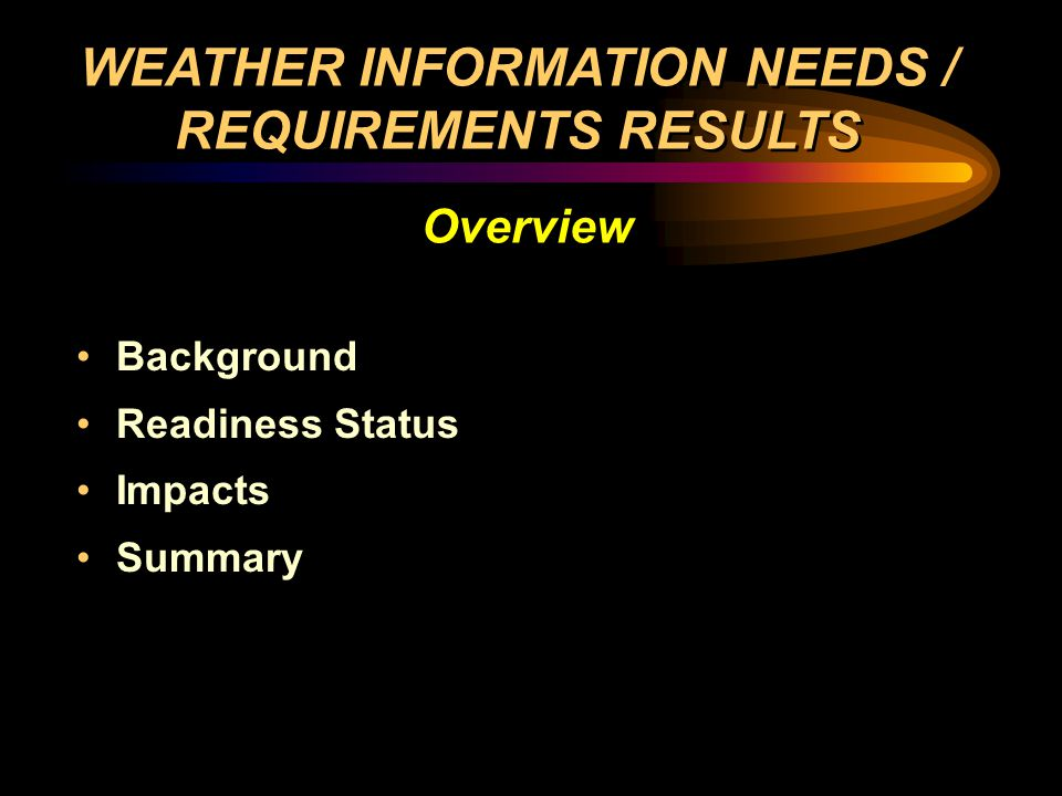 Background Readiness Status Impacts Summary Background Readiness Status Impacts Summary WEATHER INFORMATION NEEDS / REQUIREMENTS RESULTS Overview