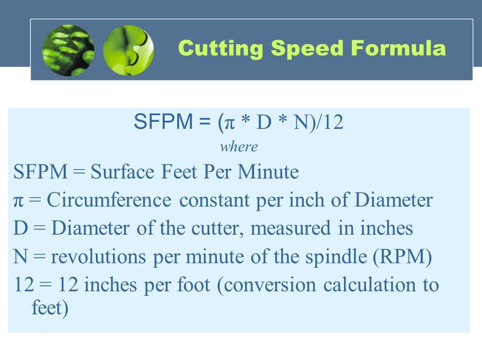 Cutting Speed Formula SFPM = ( π * D * N)/12 where SFPM = Surface Feet Per Minute π = Circumference constant per inch of Diameter D = Diameter of the