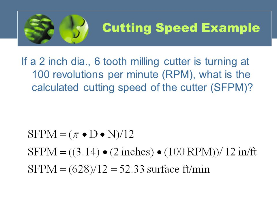 Cutting Speed Example If a 2 inch dia., 6 tooth milling cutter is turning at 100 revolutions per minute (RPM), what is the calculated cutting speed of