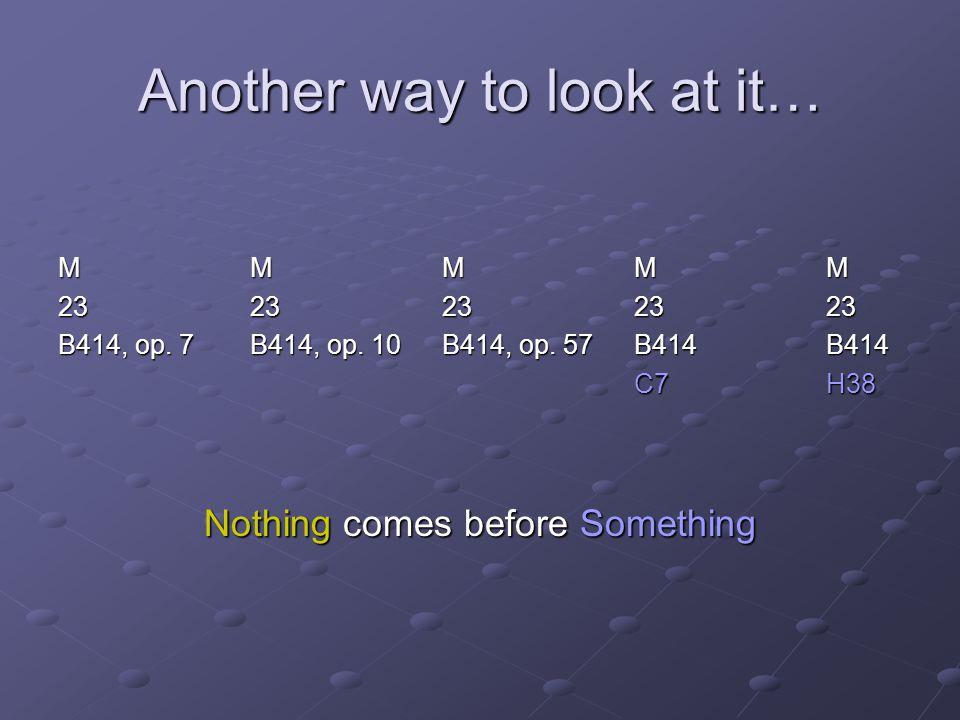 Another way to look at it… MMMMMMMMMMMMMMMMMMMM 2323232323 B414, op. 7B414, op. 10B414, op. 57B414B414 C7H38 Nothing comes before Something