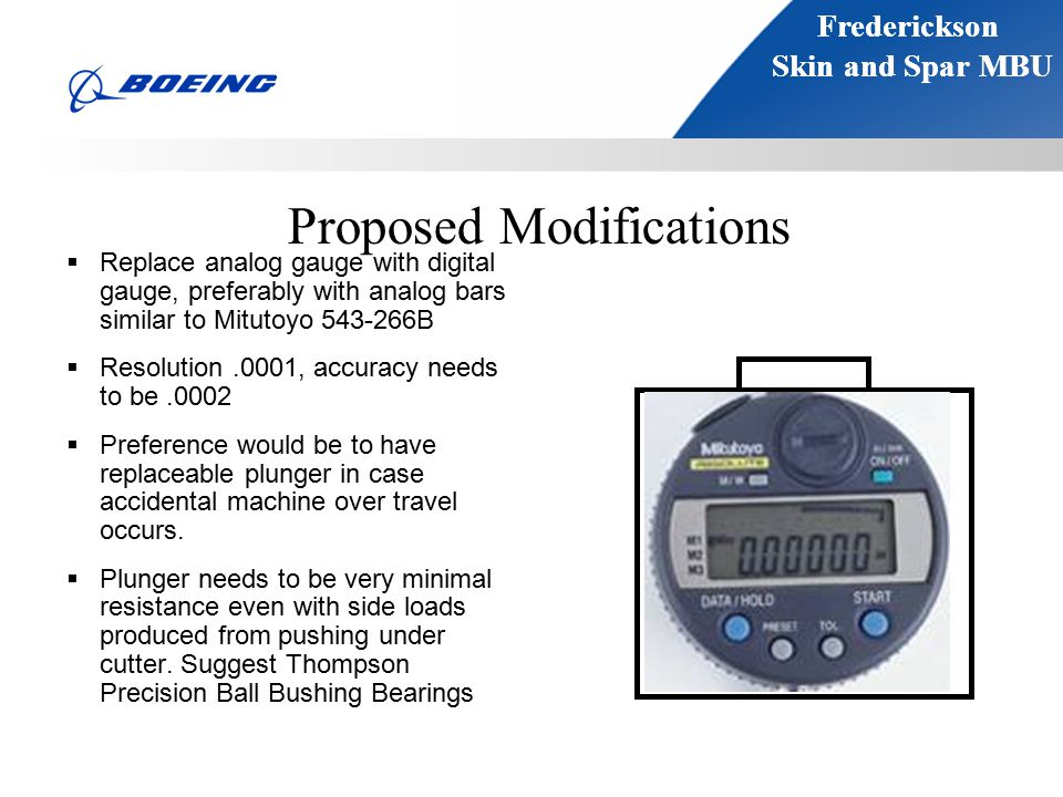 Frederickson Skin and Spar MBU Frederickson Skin and Spar MBU Proposed Modifications  Replace analog gauge with digital gauge, preferably with analog