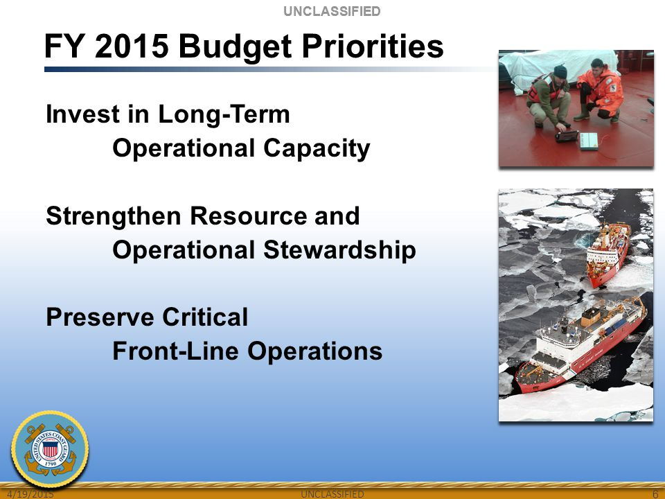 UNCLASSIFIED FY 2015 Budget Priorities Invest in Long-Term Operational Capacity Strengthen Resource and Operational Stewardship Preserve Critical Fron