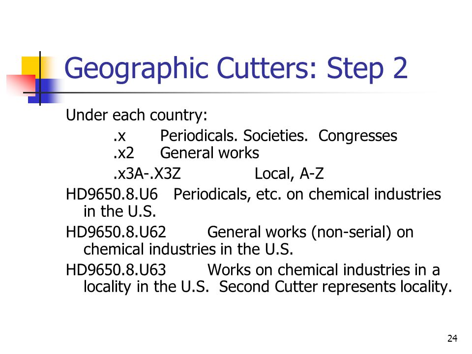 24 Geographic Cutters: Step 2 Under each country:.xPeriodicals. Societies. Congresses.x2General works.x3A-.X3Z Local, A-Z HD9650.8.U6 Periodicals, etc