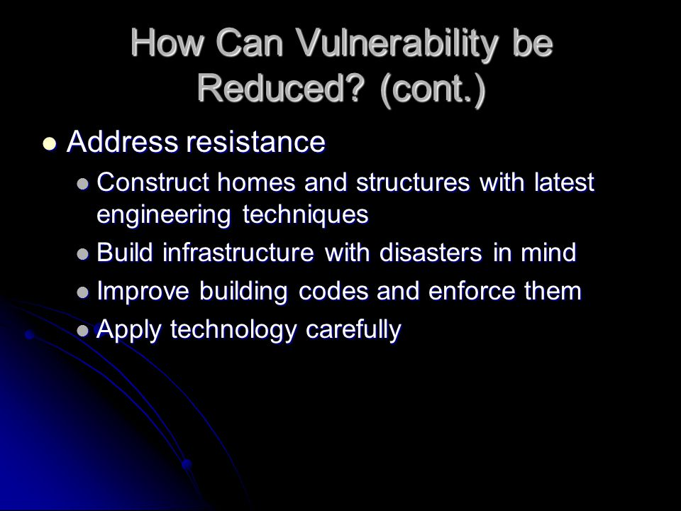 How Can Vulnerability be Reduced.
