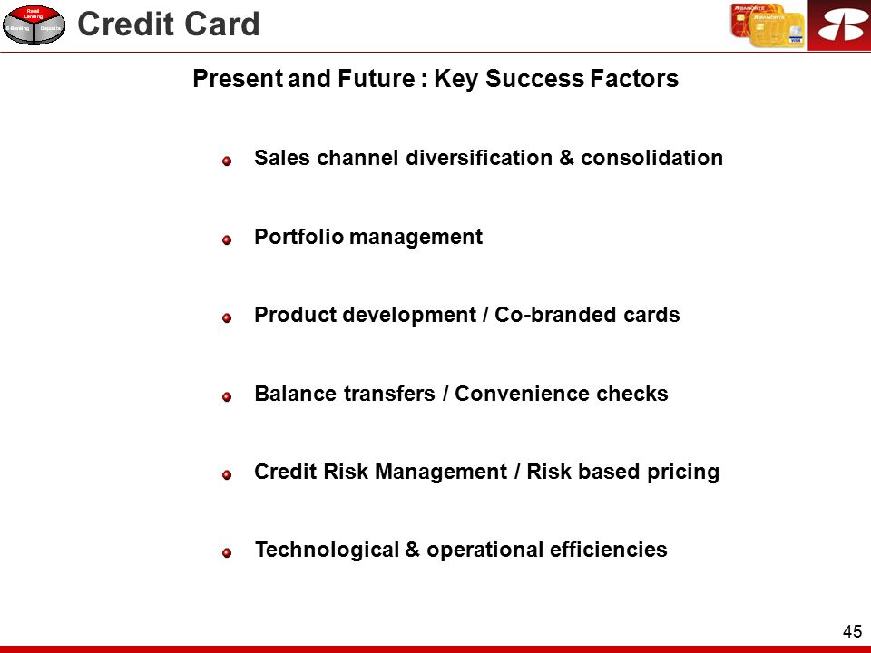 45 Sales channel diversification & consolidation Portfolio management Product development / Co-branded cards Balance transfers / Convenience checks Credit Risk Management / Risk based pricing Technological & operational efficiencies Present and Future : Key Success Factors Credit Card