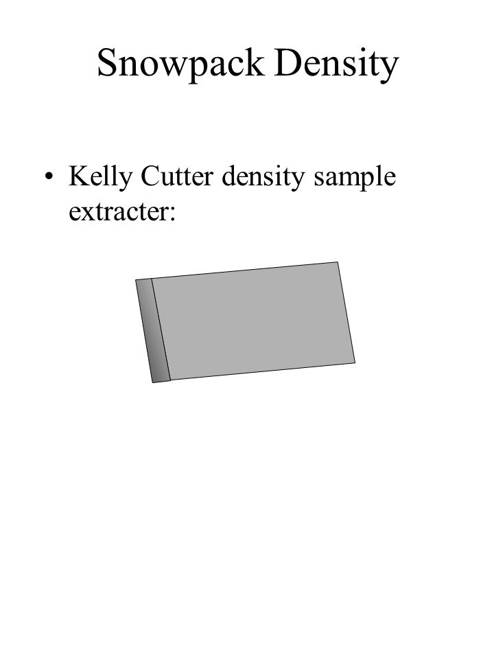 Snowpack Density Kelly Cutter density sample extracter: