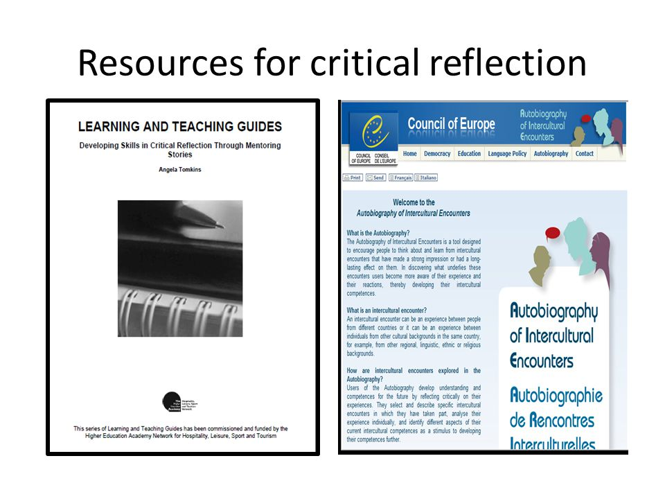 Resources for critical reflection