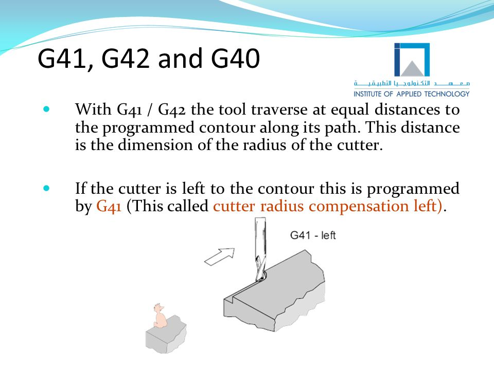 G41, G42 and G40 If the cutter is right to the contour this is programmed by G42.