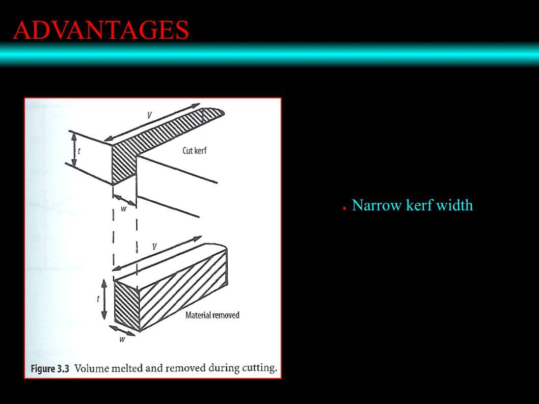 ADVANTAGES ● Narrow kerf width