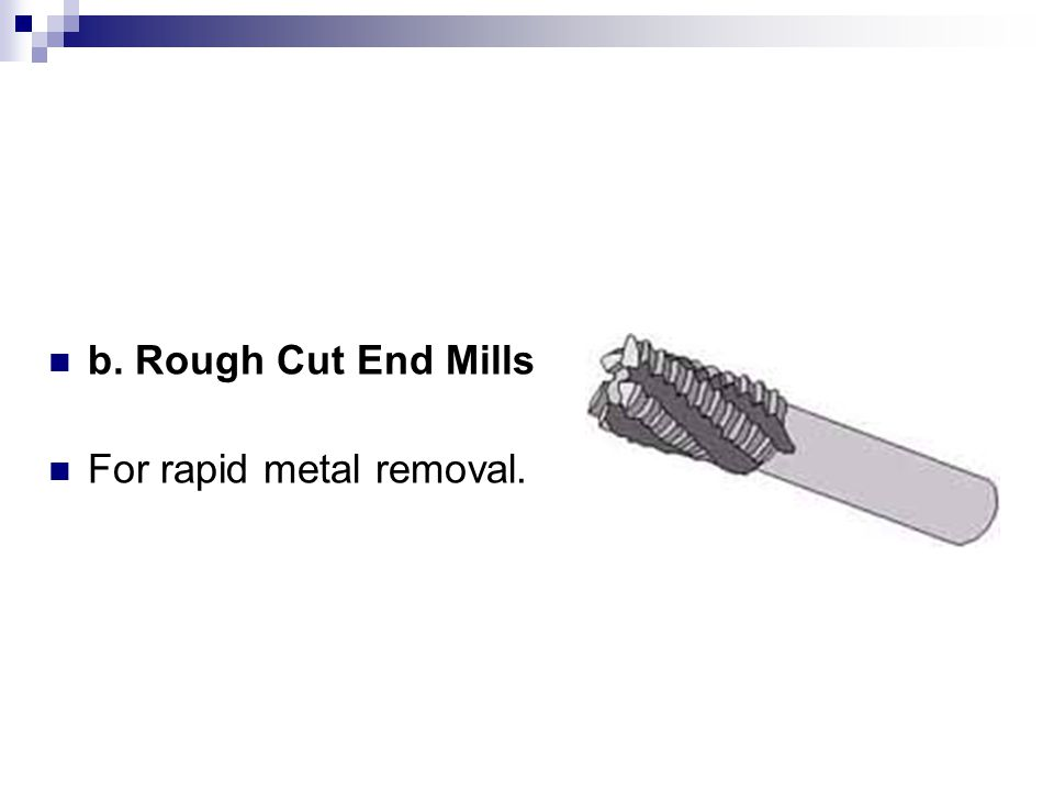 b. Rough Cut End Mills For rapid metal removal.