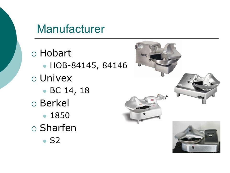 Manufacturer  Hobart HOB-84145, 84146  Univex BC 14, 18  Berkel 1850  Sharfen S2