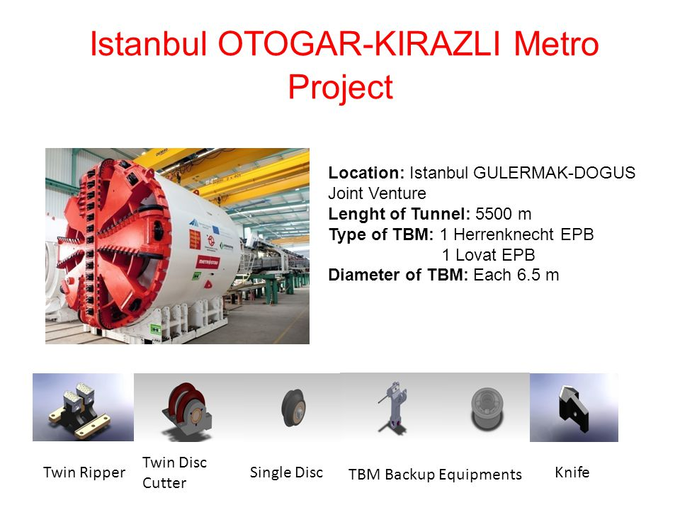 Istanbul OTOGAR-KIRAZLI Metro Project Location: Istanbul GULERMAK-DOGUS Joint Venture Lenght of Tunnel: 5500 m Type of TBM: 1 Herrenknecht EPB 1 Lovat