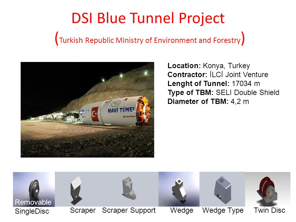 DSI Blue Tunnel Project ( Turkish Republic Ministry of Environment and Forestry ) Location: Konya, Turkey Contractor: İLCİ Joint Venture Lenght of Tun