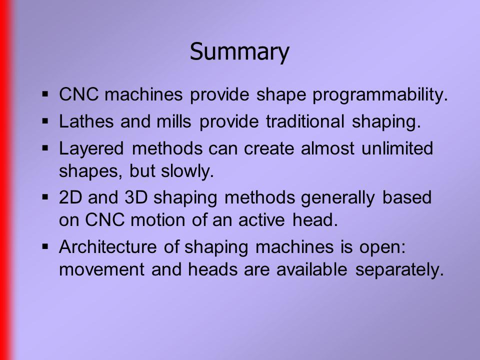 Summary  CNC machines provide shape programmability.