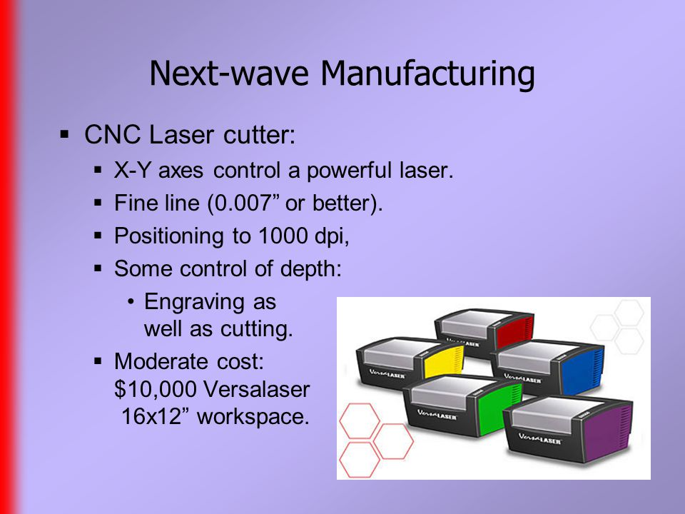 Next-wave Manufacturing  CNC Laser cutter:  X-Y axes control a powerful laser.