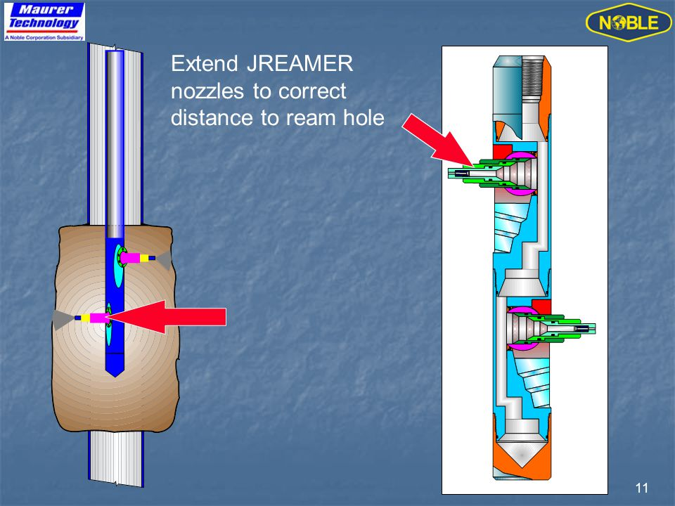 11 Extend JREAMER nozzles to correct distance to ream hole