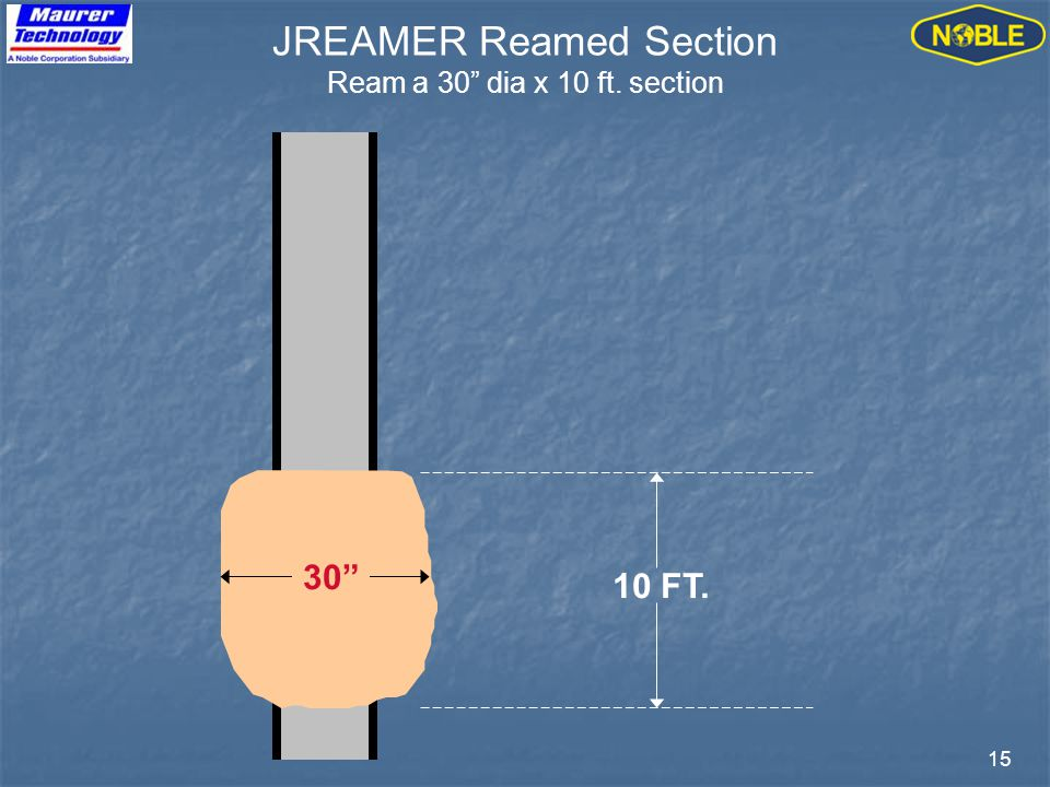 15 10 FT. JREAMER Reamed Section Ream a 30 dia x 10 ft. section 30