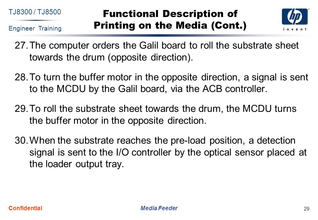 Engineer Training Media Feeder TJ8300 / TJ8500 Confidential 29 Functional Description of Printing on the Media (Cont.) 27.The computer orders the Galil board to roll the substrate sheet towards the drum (opposite direction).