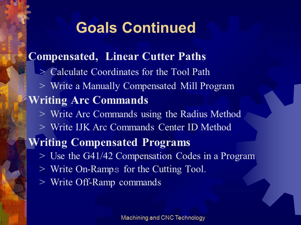 Machining and CNC Technology Goals Code Words and Program Conventions. > Name Six Word Prefix Letters > Explain Groupings of Codes > Begin a Vocabular