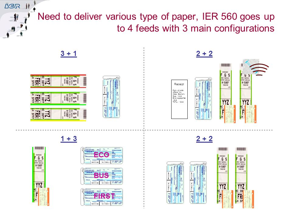 Need to deliver various type of paper, IER 560 goes up to 4 feeds with 3 main configurations ECO BUS FIRST Receipt Flight AC 3456CDG to YULClass : Eco