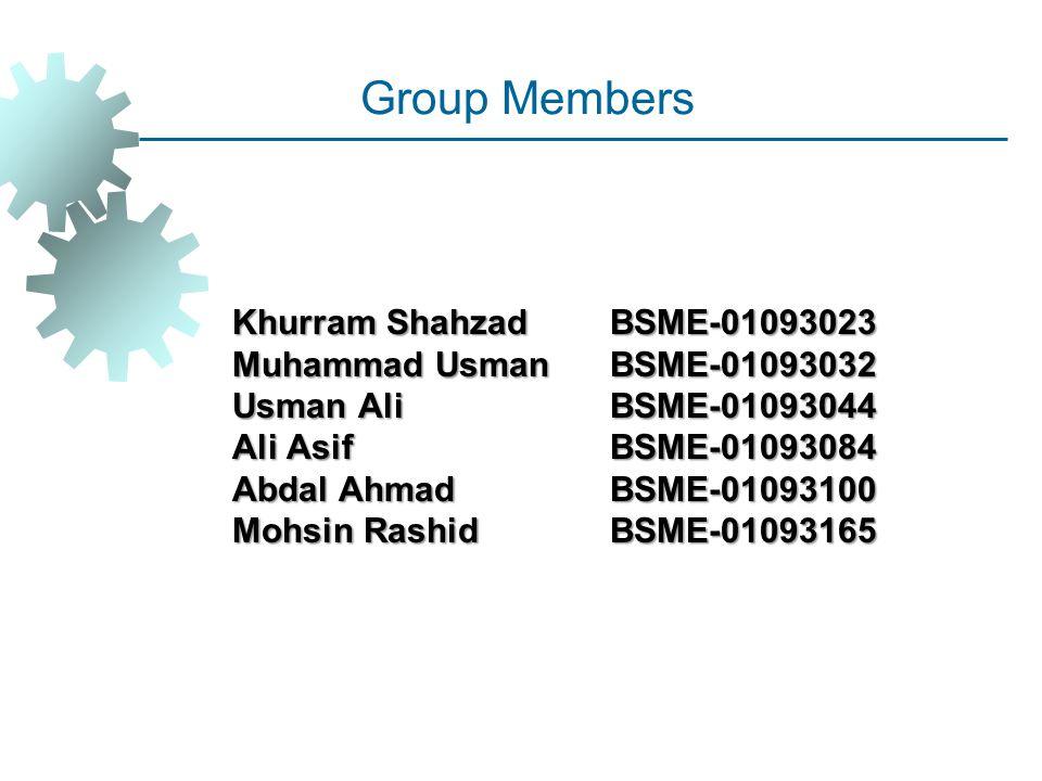 Group Members Khurram Shahzad BSME-01093023 Muhammad Usman BSME-01093032 Usman Ali BSME-01093044 Ali Asif BSME-01093084 Abdal AhmadBSME-01093100 Mohsi